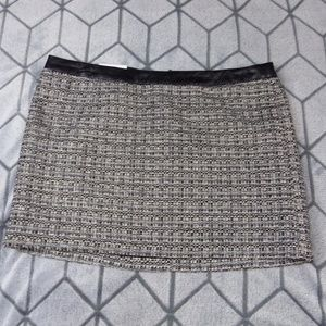 Gap Gray Flannel Tweed Skirt Faux Leather Trim NWT